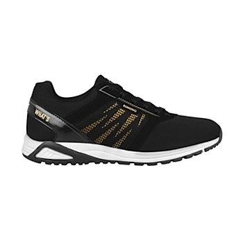 Tenis para correr what´s up para mujer negro oro 160610
